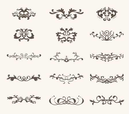 Vector set of decorative elements and line vintage style Иллюстрация