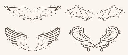 Vector set of wing and decorative elements vintage style