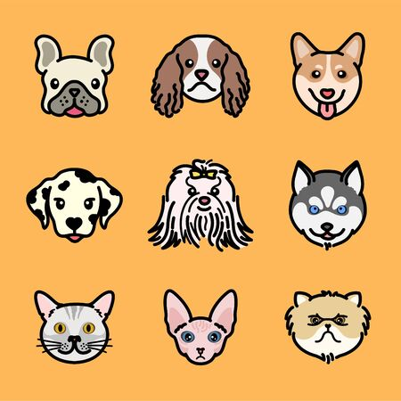 Simplified vector of dog and cat face.Friendly adorable dog friend. Various species