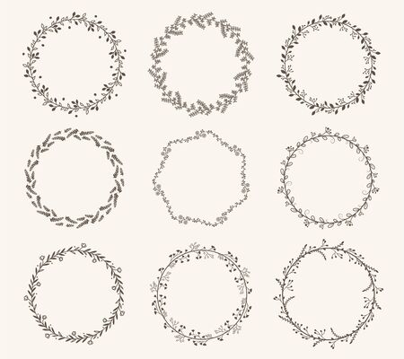 Vector set of border circle frame