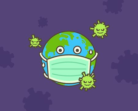 Many Virus attack. The earth put mask to fight against Corona virus. Concept of fight against virus.