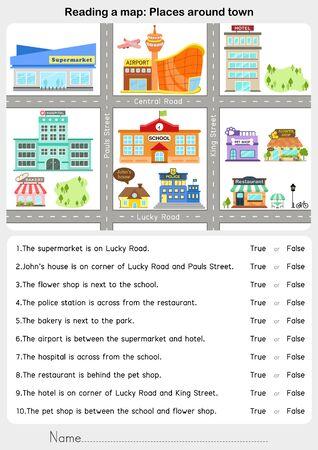 Reading a map: Places around town - Giving direction - Worksheet for education. Vektoros illusztráció