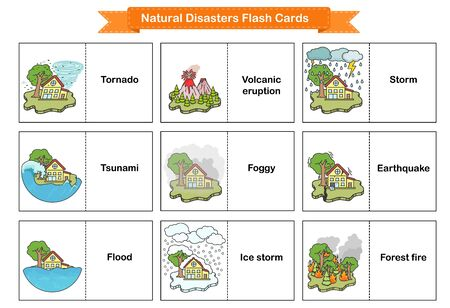 Natural Disasters Flash Cards - Collection оf cataclysms volcanic eruption and snow avalanche and flood. Flashcards for education. Illustration