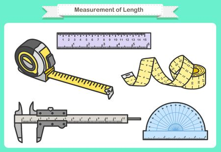Measurement of Length. These instruments may range from objects such as Ruler, tape measure, calipers Ilustração