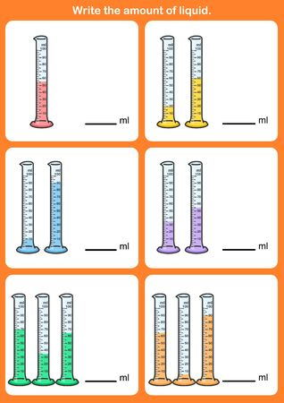 Write the amount of liquid. Measurement of Volume. These instruments may range from objects. -  Worksheet for education. Ilustração