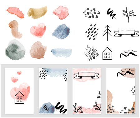 Art set of modern decor prints set abstract - Parts of set watercolor background.