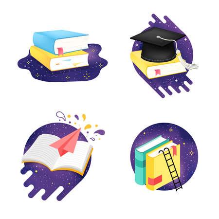Icon set of education on space explore. Vector cartoon illustration.