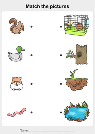 match the pictures of Animal and Their Homes. Printable worksheet. - Flashcards for education. Illustration
