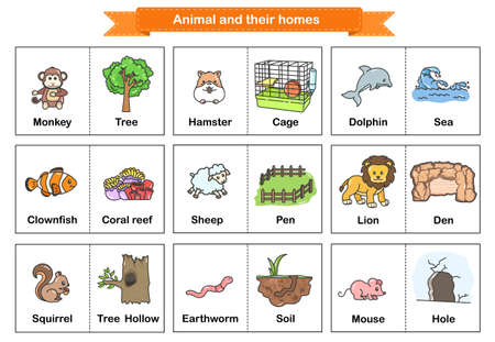 Animal and Their Homes Flash Cards. Printable flash card illustrating : Monkey, Hamster, Dolphin, Clownfish, Sheep, Lion, Squirrel, Earthworm, Mouse - Flashcards for education.