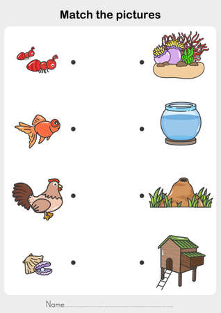 match the pictures of Animal and Their Homes. Printable worksheet. - Flashcards for education. 向量圖像