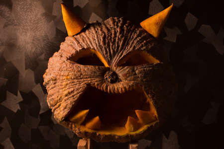 glowing carved: Halloween pumpkin in Thailand