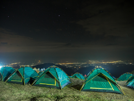 Tent the night sky filled with stars. Night sky with stars at Doi Ang Khang , Chiang Mai, Thailand. Reklamní fotografie