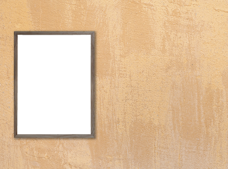 white wood floor: Old wooden photo frame on blue wooden wall. texture for add text. Stock Photo
