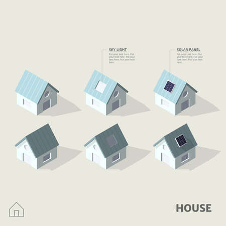Houses in isometric view with shadow, including roof skylight and rooftop solar panels including with symbol. Ilustrace
