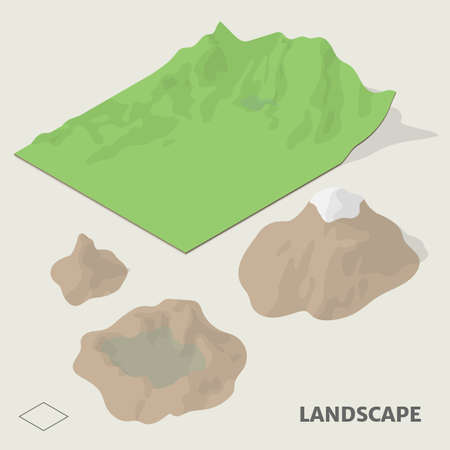 Landscape and terrain in isometric view with shadow including with symbol. Illustration