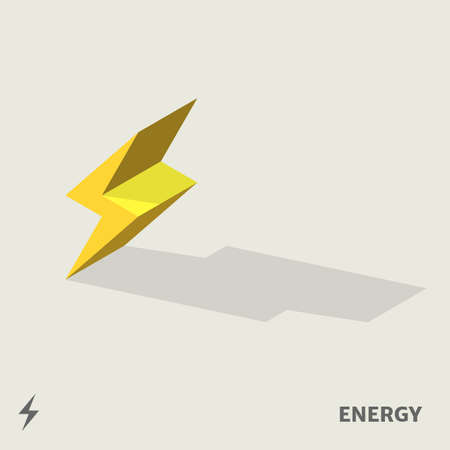 light emission: A 3D energy symbol in isometric view with shadow including with symbol.