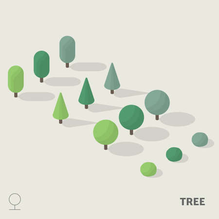 Simple trees in isometric view with shadow including with symbol. Illustration