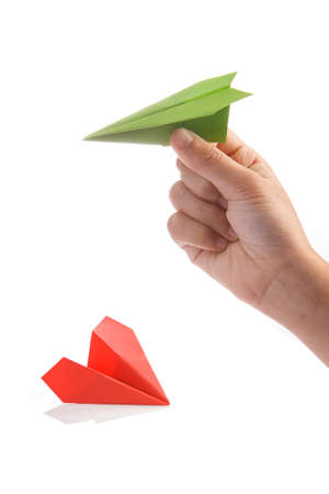 paper plane: Paper plane in hand. Start up business concept