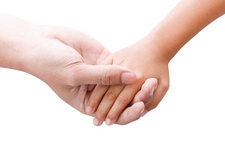 hand in hand: Hands of father and son holding each other Stock Photo