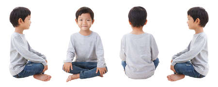4 zijden van de jongen aanbrengen op een witte achtergrond