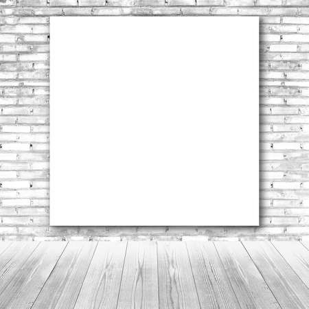 white wood floor: White board on brick wall and wood floor  background
