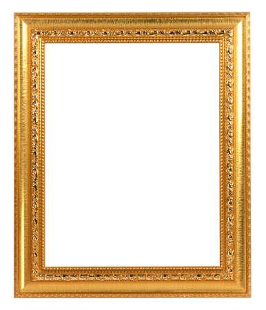 Marco de oro vintage aislado sobre fondo blanco.