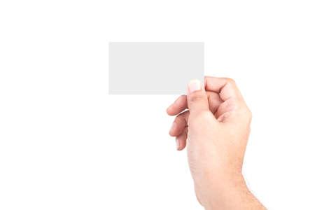 Gestes de la main de race blanche mâle isolés sur fond blanc. MAIN Tenant LA CARTE.