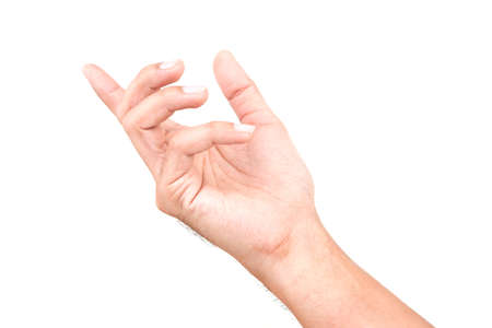 Male Caucasian hand gestures isolated over the white background. Banque d'images