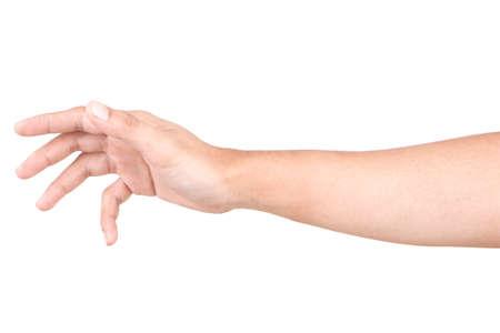 Gestos con las manos masculinas caucásicas aisladas sobre el fondo blanco.