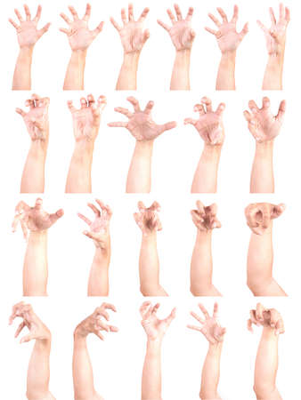 Multiple Male Caucasian hand gestures isolated over the white background, set of multiple images. ZOBIES HAND. 版權商用圖片