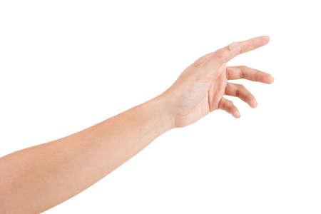 Gestes de la main asiatique mâle isolés sur le blanc