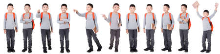 Group of Asian Boy School kid with backpack  Full Body isolated on White background. Фото со стока