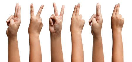 GROUP OF Boy Asian hand gestures isolated over the white background. Two Fingers Victory Sign. Gun symbol