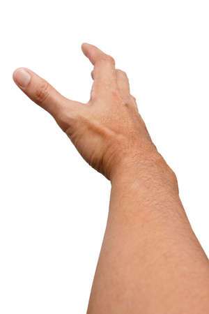 Male Asian hand gestures isolated over the white background. Soft Grab Action. Touch Action.