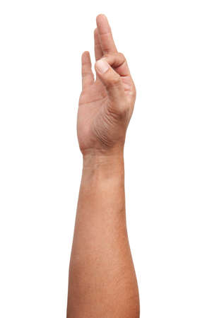 Male Asian hand gestures isolated over the white background. Soft Grab Action. Touch Action. Touch Small Thing.