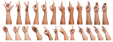 GROUP OF Male Asian hand gestures isolated over the white background. Pointing Visual Touch Action. Foto de archivo
