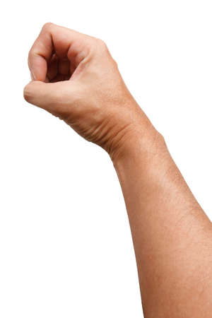 Male Asian hand gestures isolated over the white background. Counting Action. Touch Action. Touch Small Thing. Standard-Bild
