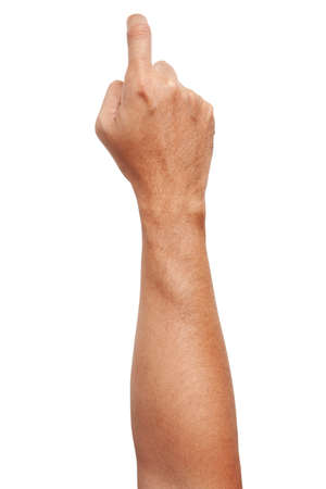 Male Asian hand gestures isolated over the white background. Pointing Visual Touch Action. Hook Pose.