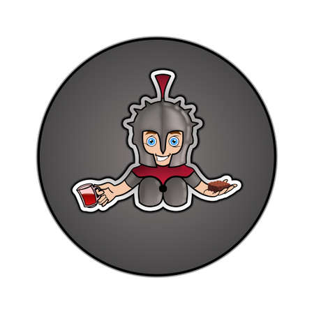 A Vector Logo/Design showing a little knight keeping a cake and a cup of tea in his hands instead of swords Çizim