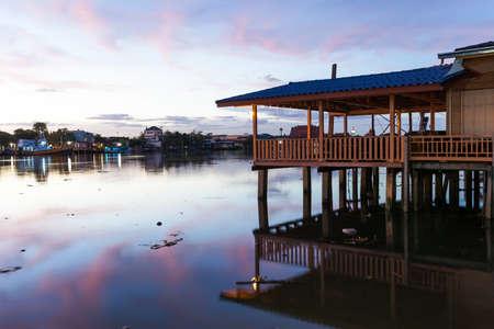 amphawa: Beautiful twilight over the river at Amphawa, Thailand
