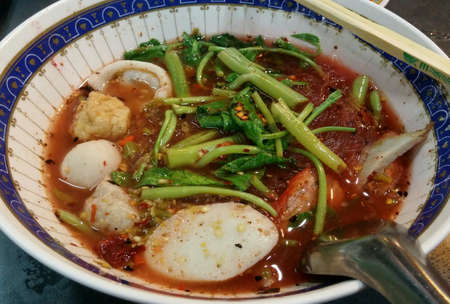 fish: Spicy Thai style noodle with fish balls