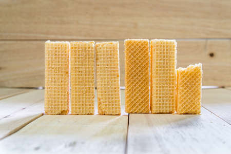 wafer: Wafer biscuits on wooden table.