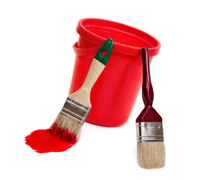 Two paint brushes and red bucket isolated on white background. Stock Photo - 11768512