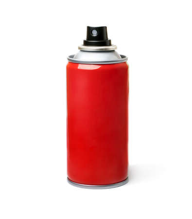 Red spray bottle,  isolated on white background  photo