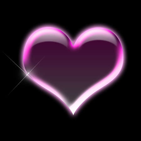 couple lit: illustrated shiny pink heart shape
