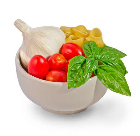italian ingredients for tomato pasta Stock Photo