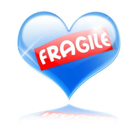 Fragile blue glass heart Stock Photo