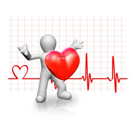 kardio: illusztrációja egy kis ember, és egy nagy piros szív