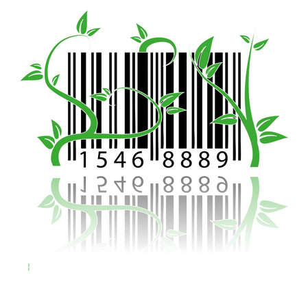 bar code covered by plants Illustration