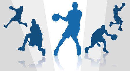 dribbling: silhouettes of basket players